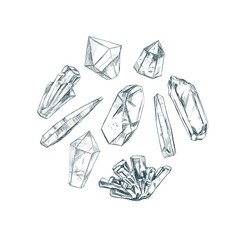 Healing crystals. Vector hand drawn illustration. Isolated objects. Yoga. Spirituality