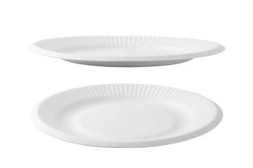 Empty paper plate isolated on white background