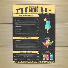 Flat cocktail menu design. Document template