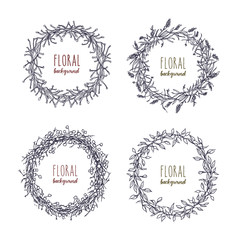 Floral round wreaths set. Hand drawn frames, collection. Monochrome vector illustration.