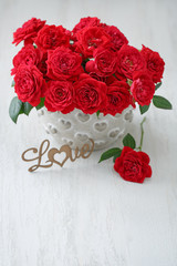 Lovely bunch of flowers .Beautiful fresh roses flowers in a vase.