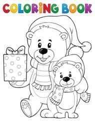 Coloring book Christmas bears theme 1