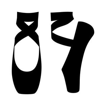 Ballet dance / dancing shoes or slippers in en pointe position flat vector icon for apps and websites