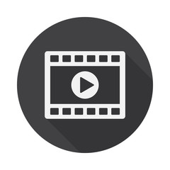 Video clip player icon with long shadow. Flat design style. Movie player simple silhouette. Modern, minimalist, round icon in stylish colors. Web site page and mobile app design vector element.