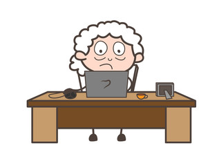 Scared Granny Watching Movie on Laptop Vector Illustration