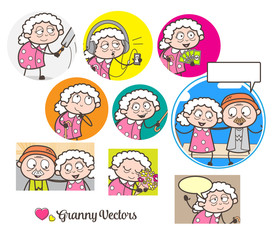 Cartoon Granny's Many Concepts Graphics Vector Illustrations