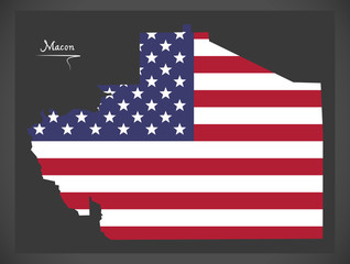 Macon county map of Alabama USA with American national flag illustration