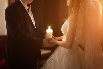 Newly married couple in hotel room, romance wedding night.