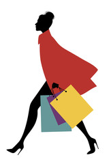 Fashionable woman with shopping bags walking on the street. Vector Illustration