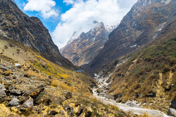 Landscape on the road trip to Annapurna Base Camp Nepal