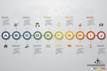 10 steps Timeline infographic element. 10 steps infographic, vector banner can be used for workflow layout, diagram,presentation, education or any number option. EPS10.