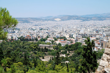Panorama view from the Acropolis of Athens and the temple Agora