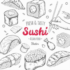 Asian food frame. Vector hand drawn colored illustration. Sushi. Japan cuisine
