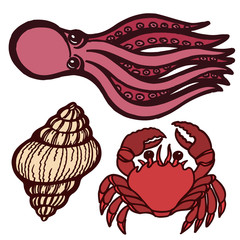 Marine inhabitants. Octopus, crab and shellfish. Isolated objects. Vector Image.