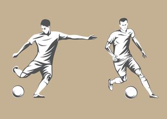 Football players. Vector Illustration.