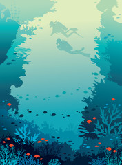 Scuba divers, coral reef, fishes, underwater sea.