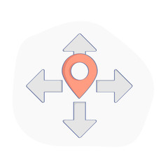 Geo map Pin, Delivery service or GPS location vector concept. Geo Point marker surrounded by Destination Arrow pointers. Business or transportation illustration, flat line UX UI design element.