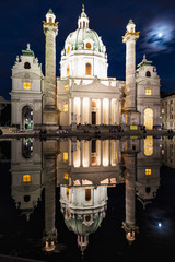 Karlskirche church in Vienna at night