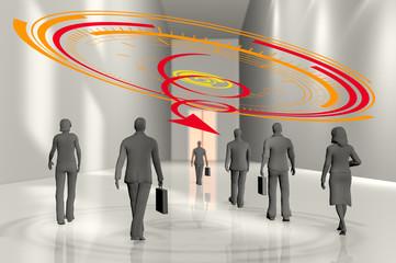 Décroissance entreprise hommes et femmes d'affaires
