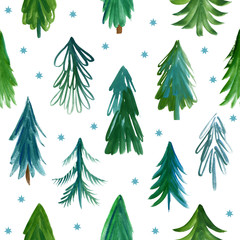 Christmas trees, seamless pattern