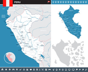 Peru - infographic map and flag illustration