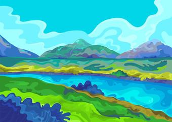 Printed roller blinds Light blue Landscape, Vector illustration