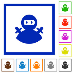 Ninja avatar flat framed icons
