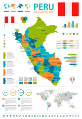 Peru - infographic map and flag - illustration