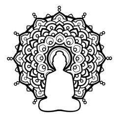 Silhouette Buddha over ornate mandala round pattern. Indian, buddhism, spiritual art.