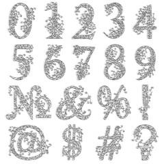 Vintage fishnet (floral) numeric figures.