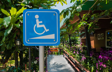 White and blue Handicap symbol car parking of disabled ,Special Parking places for disable.