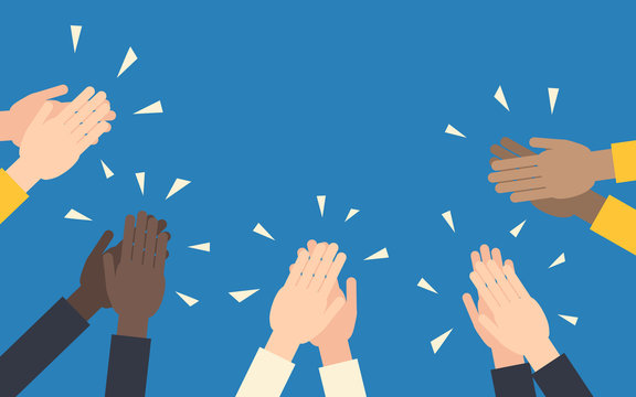Human hands clapping, simple flat vector illustration