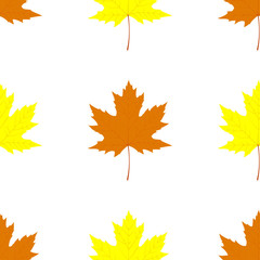 Maple leaves. Seamless pattern with autumn falling leaves. Vector illustration