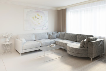 3d rendered interior of living room turns into a real one