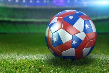 Chile Soccer Ball on Stadium Green Grasses at Night