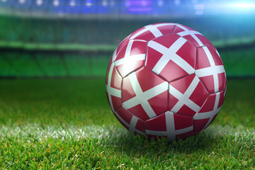 Denmark Soccer Ball on Stadium Green Grasses at Night