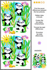 Picture puzzle: Find the seven differences between the two pictures of cute panda bears feeding in bamboo forest (plus same task text in Russian, German, French and Spanish). Answer included.