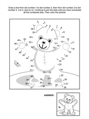 Connect the dots picture puzzle and coloring page - teddy bear. Answer included.