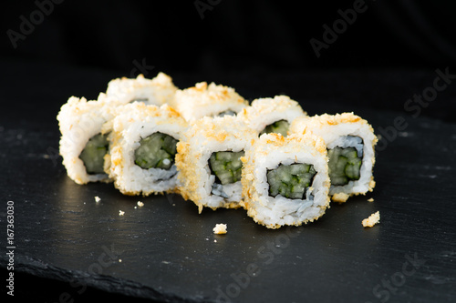 Traditional Japanese Cuisine Appetizing Sushi Rolls With