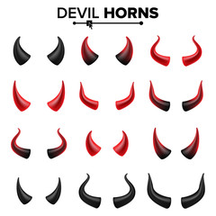 Devil Horns Set Vector. Good For Halloween Party. Satan Horns Symbol Isolated Illustration.