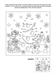 Connect the dots picture puzzle and coloring page, Christmas or New Year winter holiday themed, with gift boxes, christmas tree, snowman, teddy bear, snowflakes