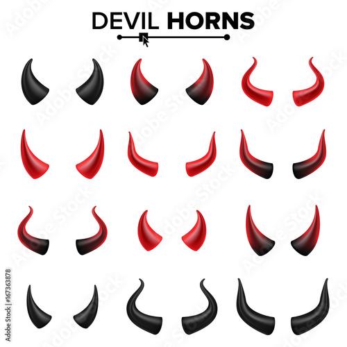 Devil Horns Set Vector Good For Halloween Party Satan Horns Symbol
