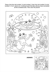 Connect the dots picture puzzle and coloring page, spring or summer joy themed, with happy frogs, bucket full of water, bubbles, puddles, grass, flowers, insects