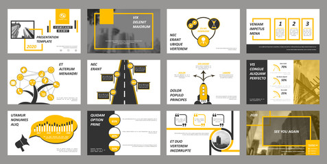 Creative set of abstract infographic elements. Modern presentation template with title sheet. Brochure design in dark grey, white and yellow colors. Vector illustration. City street image. Urban. Wall mural