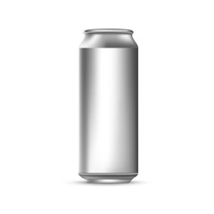 Template for your design. Gray tin can. Vector 3d illustration