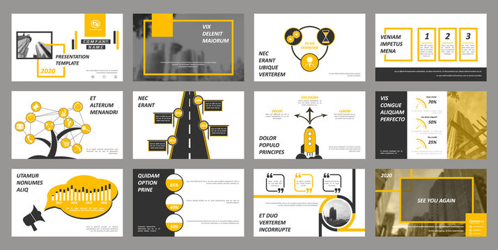 Creative set of abstract infographic elements. Modern presentation template with title sheet. Brochure design in dark grey, white and yellow colors. Vector illustration. City street image. Urban.