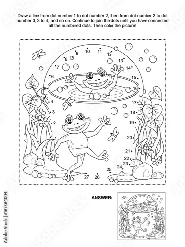 Connect The Dots Picture Puzzle And Coloring Page Spring Or Summer Joy Themed With