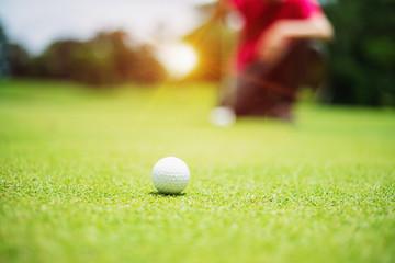 golf ball on green golf course, sunrise morning light.