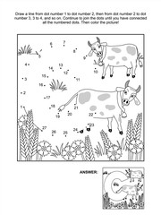 Educational connect the dots picture puzzle and coloring page - letter C, cows and cornflowers. Answer included.