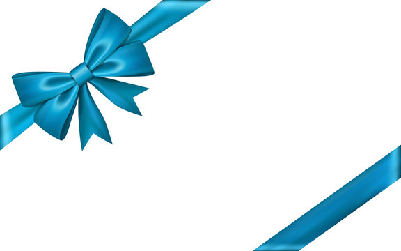 Gift bow ribbon silk. Blue bow tie isolated white background. 3D gift bow tie for Christmas present, holiday decoration, birthday celebration. Decorative satin ribbon element Vector illustration